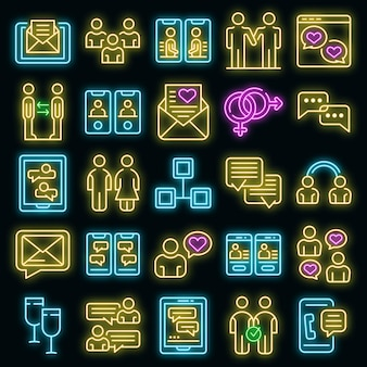 Bekannte icons set vektor neon