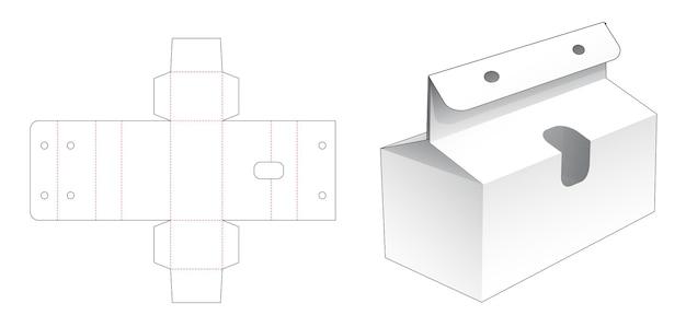 Bekery box mit kleinem fenster und seilloch gestanzte vorlage
