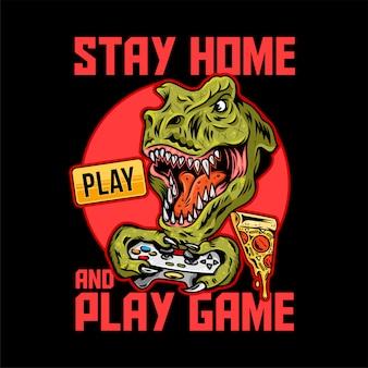 Bekleidungsdruckdesign für spieler und geeks mit wütendem t-rex-dinosaurier, der videospiel auf joystick-gamepad und mit quarantänemeldung spielt.