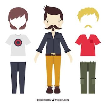 Bekleidungskollektion für männer in urbanen stil