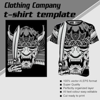 Bekleidungsunternehmen, t-shirt-vorlage, dämon umgang mit schwert