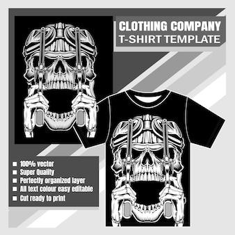 Bekleidungsunternehmen, t-shirt-vorlage, schädel handzeichnung