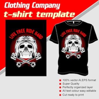 Bekleidungsunternehmen, t-shirt-vorlage, schädel helm und kolben