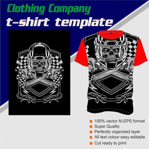 Bekleidungsunternehmen, t-shirt-vorlage, schädel helm