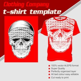 Bekleidungsunternehmen, t-shirt-vorlage, schädel mit kopftuch
