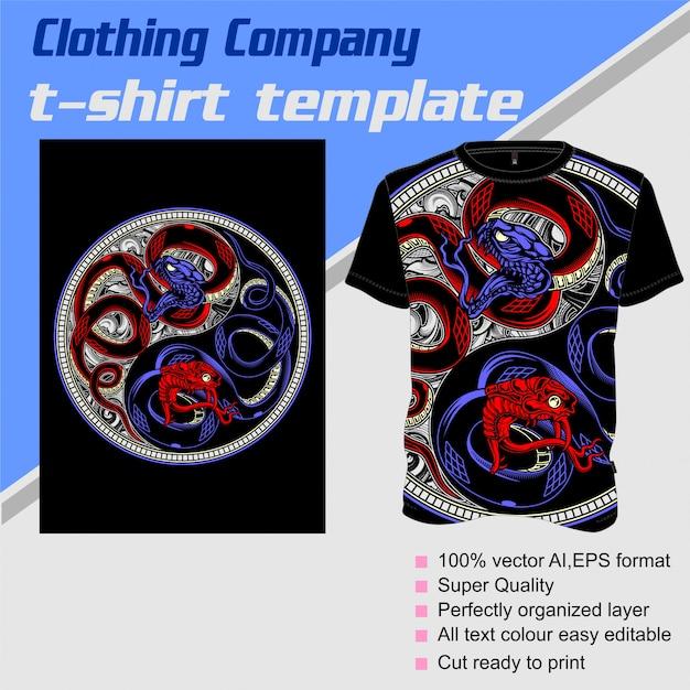 Bekleidungsunternehmen, t-shirt-vorlage, schlange ying yang