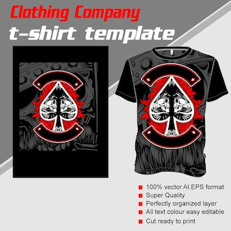 Bekleidungsunternehmen, t-shirt-vorlage, skull ace scoop