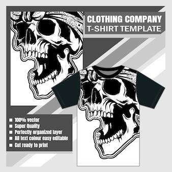 Bekleidungsunternehmen, t-shirt-vorlage, vintage scary skull
