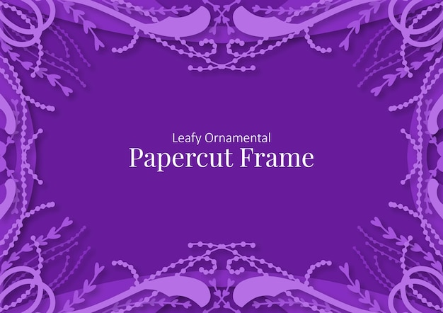 Belaubter dekorativer papierschnittrahmenhintergrund