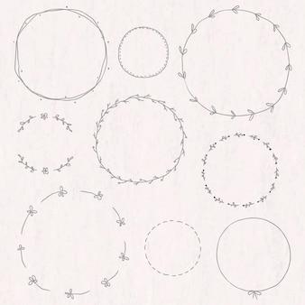 Belaubtes doodle-tagebuch-aufkleber-design-element-set