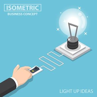 Beleuchten sie ihre ideen zum isometrischen flachen design