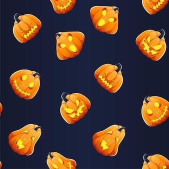 Beleuchtete jack-o-laternen nahtlose muster hintergrund in orange und blau.