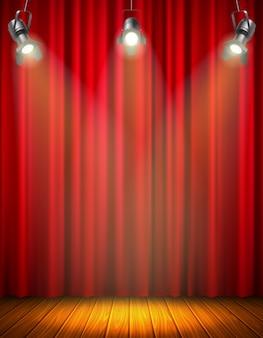 Beleuchtete leere bühne mit rotem vorhang des leuchtenden hölzernen boden hängenden flutlichtvektorillustrationsmaterials