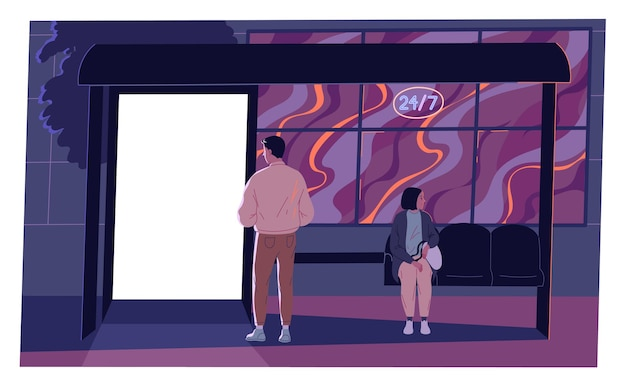 Beleuchtete leere plakatwand, werbebanner an der bushaltestelle