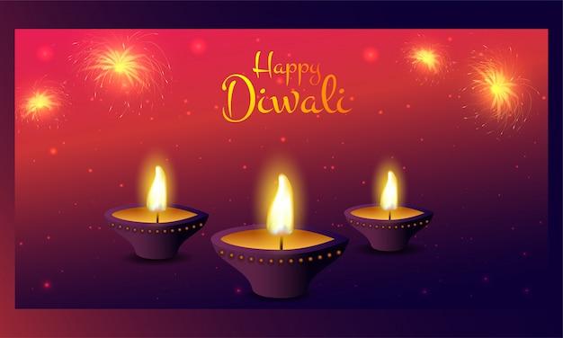 Beleuchtete öllampe (diya) mit feuerwerk auf rot und lila lichteffekt für happy diwali feier.