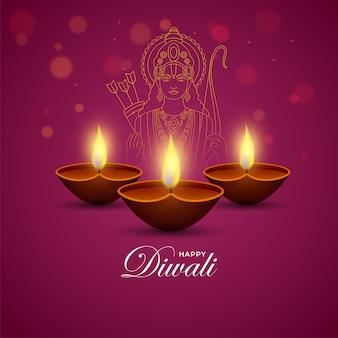 Beleuchtete öllampen (diya) mit strichzeichnungen lord rama auf dunkelrosa hintergrund