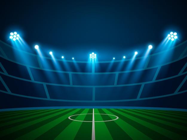 Beleuchtete stadionslicht-scheinwerfer-szene