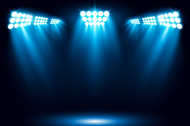 Beleuchtete stadiumslicht-scheinwerferszenen-vektorillustration