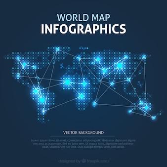 Beleuchtete weltkarte infografik