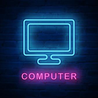Beleuchteter neonlichtsymbol computerbildschirm