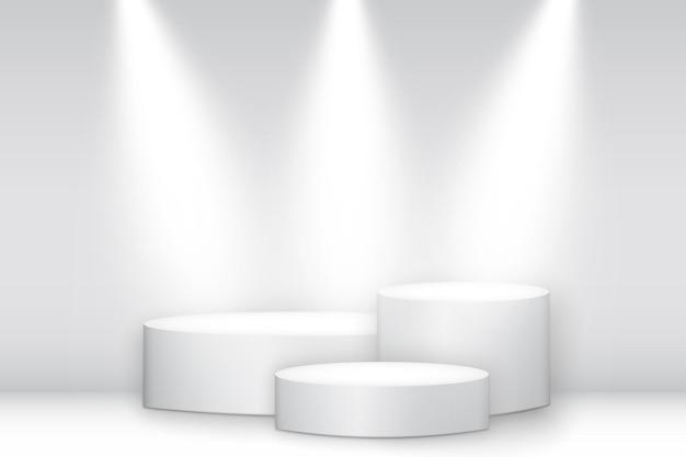 Beleuchteter weißer runder sockel. siegerpodest, plattform mit scheinwerfern