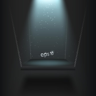 Beleuchtetes podium an ketten aufgehängt platz für präsentation