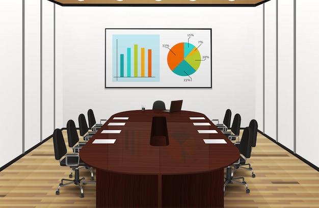 Beleuchtetes realistisches innenarchitekturdesign des konferenzraums mit statistiken auf der schirmillustration