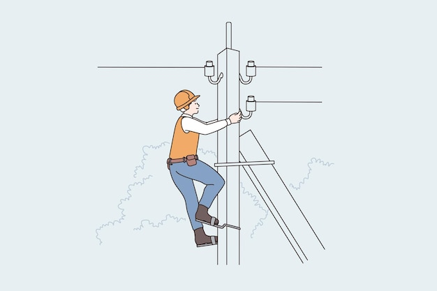 Beleuchtungsausrüstung und arbeiterkonzept