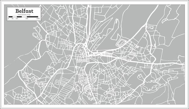 Belfast irland stadtplan im retro-stil. übersichtskarte. vektor-illustration.