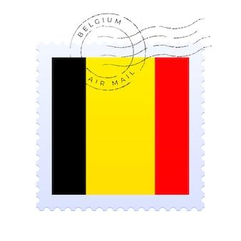 Belgien briefmarke. nationalflaggen-briefmarke lokalisiert auf weißer hintergrundvektorillustration. stempel mit offiziellem länderflaggenmuster und ländernamen