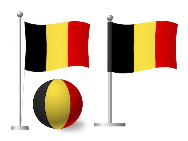 Belgien flagge auf pole und ball-symbol