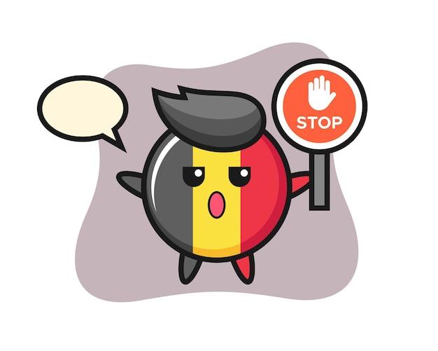 Belgien flaggenabzeichen charakter, der ein stoppschild hält