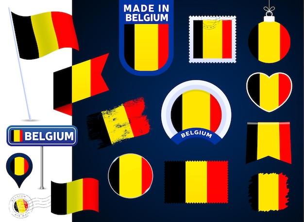 Belgien flaggenvektorsammlung. große auswahl an designelementen der nationalflagge in verschiedenen formen für öffentliche und nationale feiertage im flachen stil. poststempel, gemacht in, liebe, kreis, straßenschild, welle