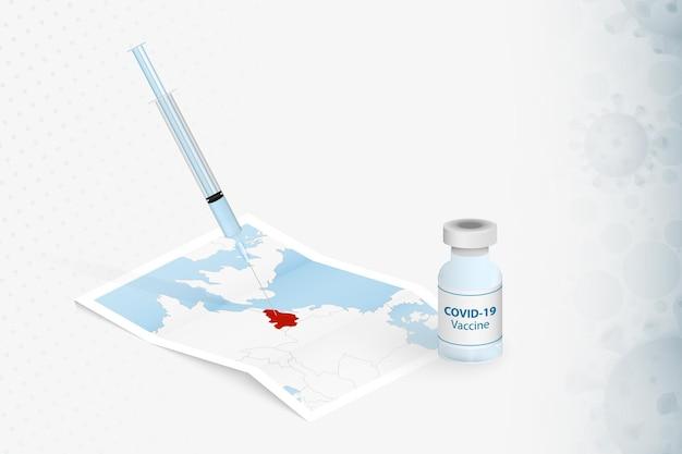 Belgien impfung, injektion mit covid-19-impfstoff in der karte von belgien.