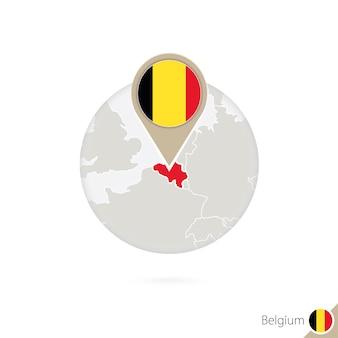 Belgien-karte und flagge im kreis. karte von belgien, belgien-flaggenstift. karte von belgien im stil des globus. vektor-illustration.