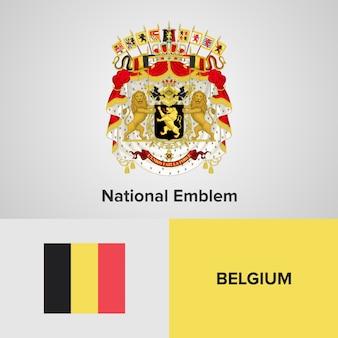 Belgien-karten-flagge und nationales emblem