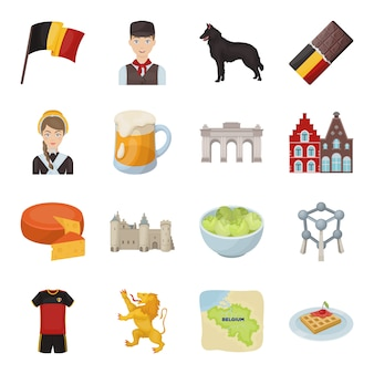 Belgien-satz des vektorelements. illustration von belgien-tourismus und -kultur.