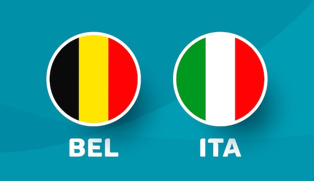Belgien vs. italien match vector illustration fußballmeisterschaft 2020