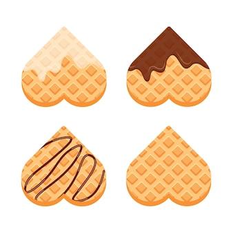Belgische waffeln mit vanillecreme und schokolade