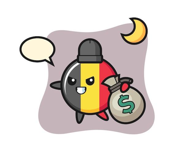 Belgium flagge abzeichen cartoon wird das geld gestohlen