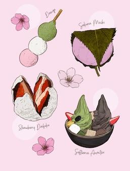 Beliebte art von japanischen süßigkeiten. dango, sakura mochi, strawberry daifuku und anmitsu.