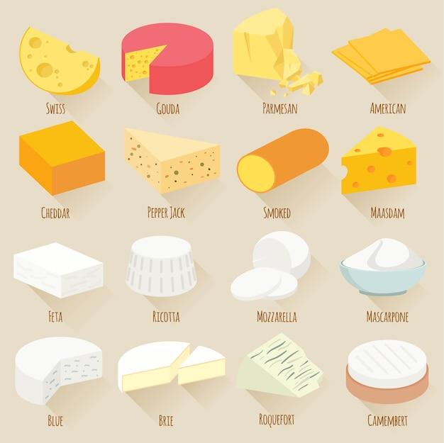 Beliebte art von käseillustrationen