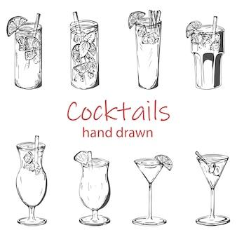 Beliebte cocktailgetränke vektorsatz, handgezeichnete skizze gesetzt.