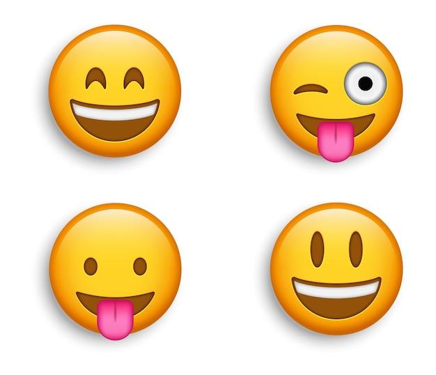Beliebte emojis - crazy winking emoji mit zunge heraus und grinsendes gesicht mit großen, lächelnden augen