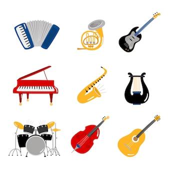 Beliebte musikinstrumente eingestellt
