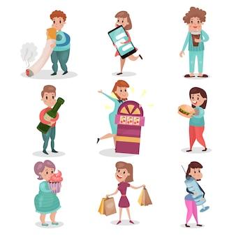 Beliebte schlechte gewohnheiten und abhängigkeiten der modernen gesellschaft setzen cartoon-illustrationen