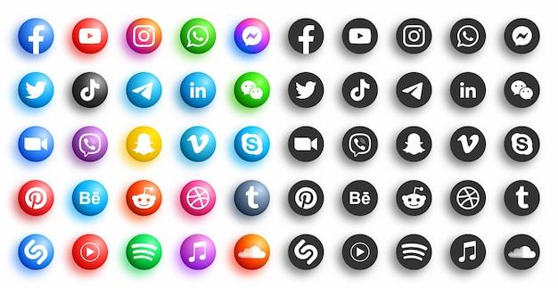 Beliebte social media network modern d runde symbole in verschiedenen variationen auf weißem hintergrund