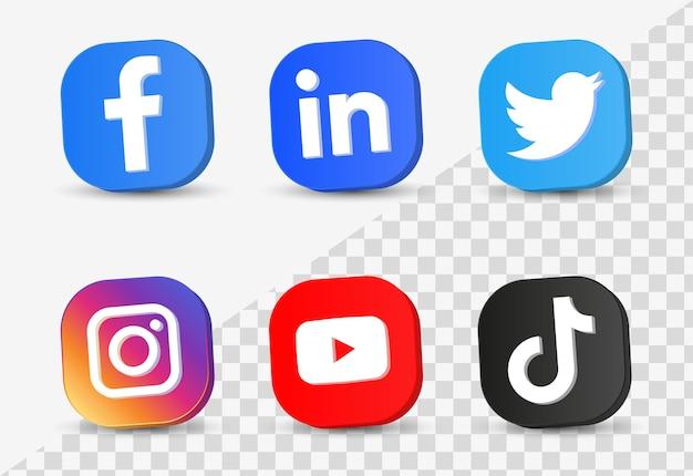 Beliebte social-media-symbole in 3d-buttons oder netzwerkplattform-logos