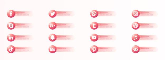 Beliebte soziale website-icons mit bannern setzen kostenlose icons