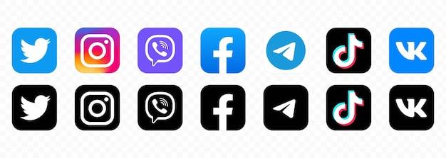Beliebtes logo für soziale netzwerke. zeichen des sozialen netzwerks. flache social-media-symbole. realistisches set